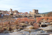 Castle and dry river — Stockfoto
