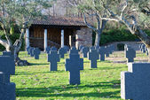 Small cemetery at sunset — Stock Photo