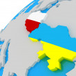 The Flag of Ukraine and Poland on the globe, 3D — Stock Photo