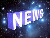 News on the background of the starry sky, 3D — Stock Photo