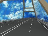 The road across the bridge on the background of the sky, 3D — Stock Photo
