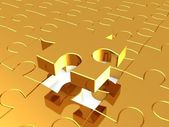 Puzzles gold, 3D — Stock Photo