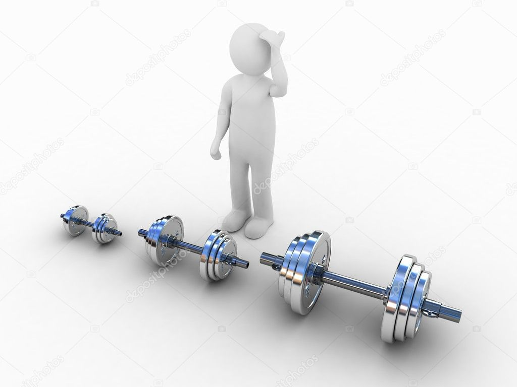 Dumbbells and a man, 3D  Stock Photo #8542340