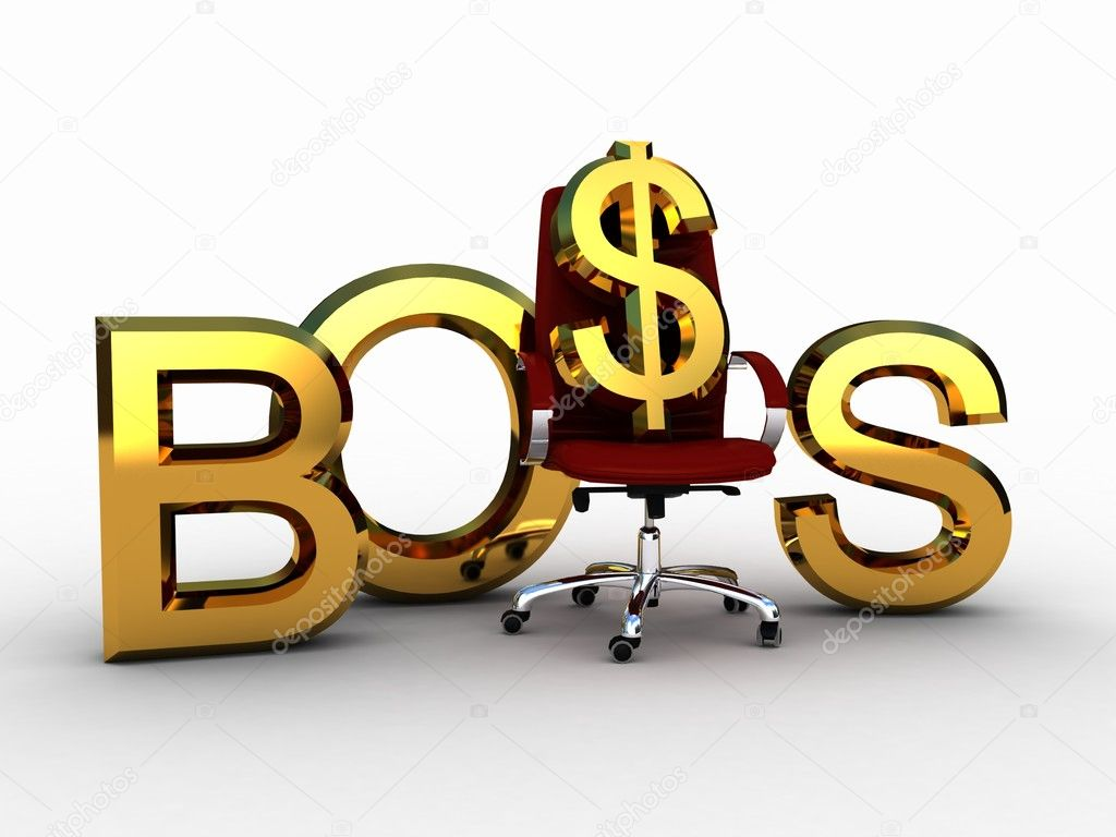 The chair of the boss and the dollar sign, 3D — Stock Photo #8542471