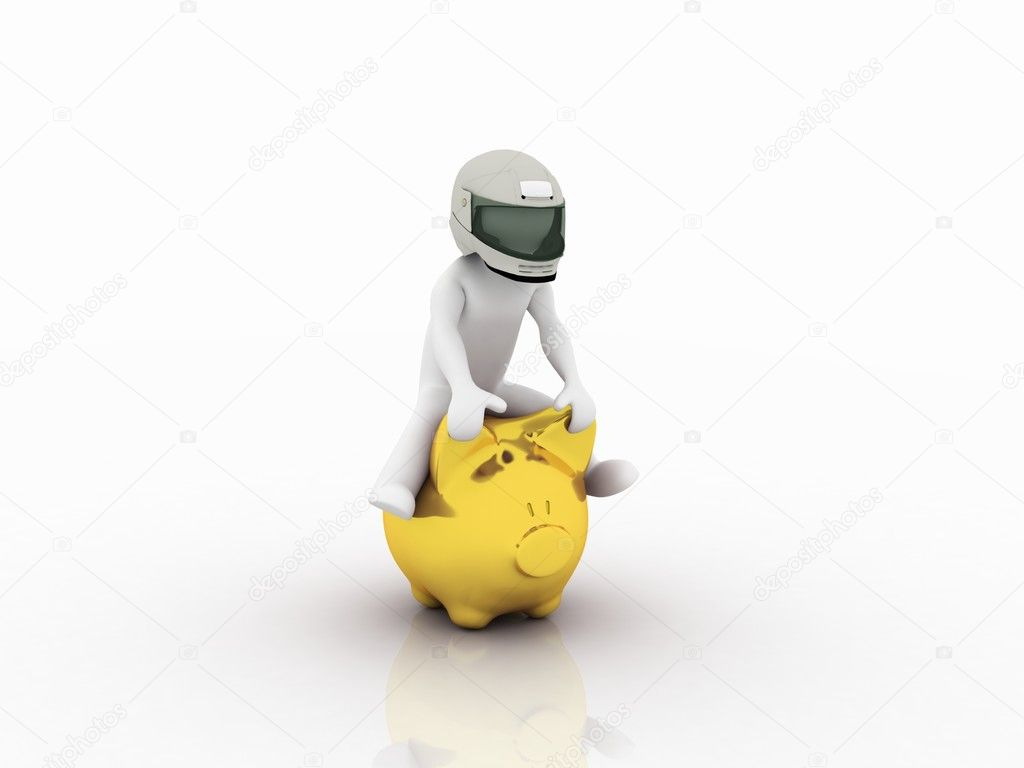 Man riding on a pig, 3D — Stock Photo #8542985