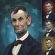 Постер, плакат: Abraham Lincoln with four alternate backgrounds