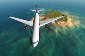 Airplane flying over a tropical island 3D render — Stock Photo