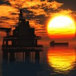 Oil Field Pumps Silhouettes in the Sunset 3D render ö2 — Stock Photo