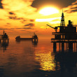 Oil Field Pumps Silhouettes in the Sunset 3D render - Stock Photo