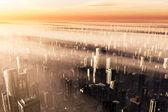 Metropolis Sunset 3D render heavy smog — Stock Photo