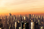 Metropolis Sunset 3D render smog — Stock Photo