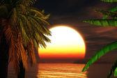 Tropical Paradise Sunset 3D render — Stock Photo
