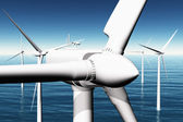 Wind Turbines in the Sea 3D render — Stock Photo