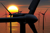 Wind Turbines in the Sea in the Sunset 3D render — Stock Photo