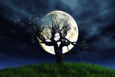 Lonely Tree under full moon 3D render — Stock Photo