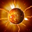 Red Planet Sun Flares Storm Erupting - Stock Photo