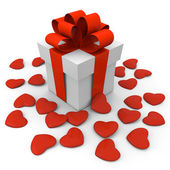 Valentine's Day gift box with small hearts — Stock Photo