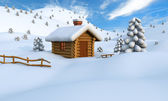 Winter log cabin — Stock Photo