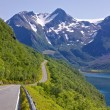 Stock Photo: Scenic road by fjord