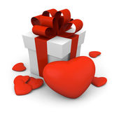 Valentine's Day gift box with red hearts — Zdjęcie stockowe