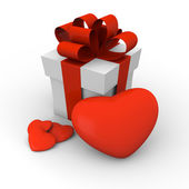 Valentine's Day gift box with red hearts — Photo
