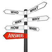 Questions and Answers Signpost — Foto Stock