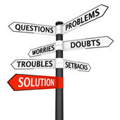Problems and Solution Signpost — Stock Photo