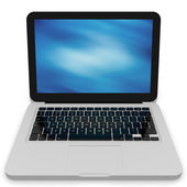 Modern laptop with abstract background on the screen — Stock Photo