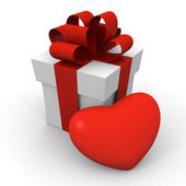 Valentine's Day gift box with a big red heart — Stock Photo