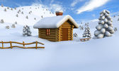 Log cabin in winter — Stock Photo