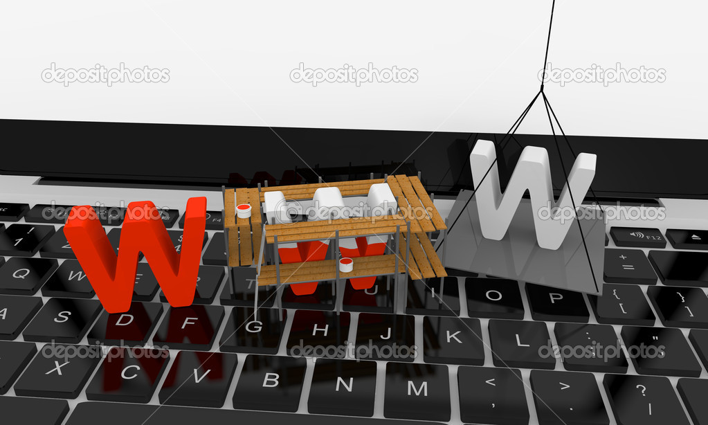 Letters www being built on the top of keyboard — Stock Photo #8625561