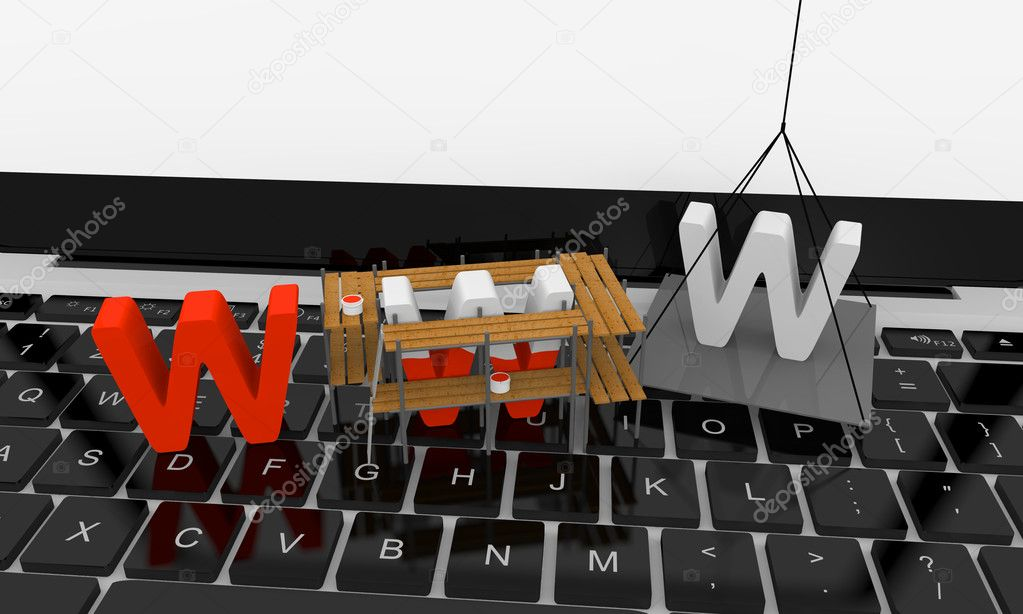 Letters www being built on the top of keyboard — Stockfoto #8625561