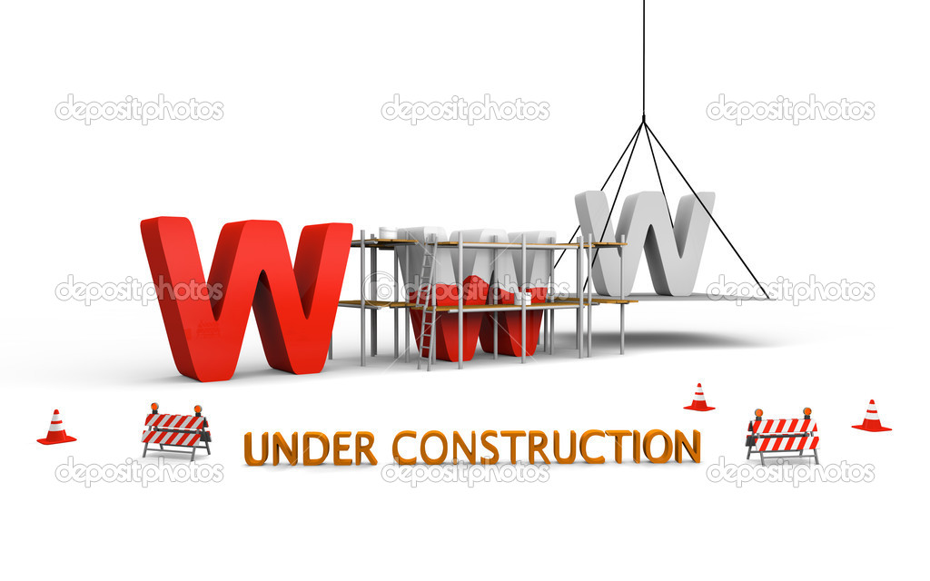 Simple website under construction concept with letters www being built and painted red, with traffic barries and cones spread across  Stock Photo #8625590