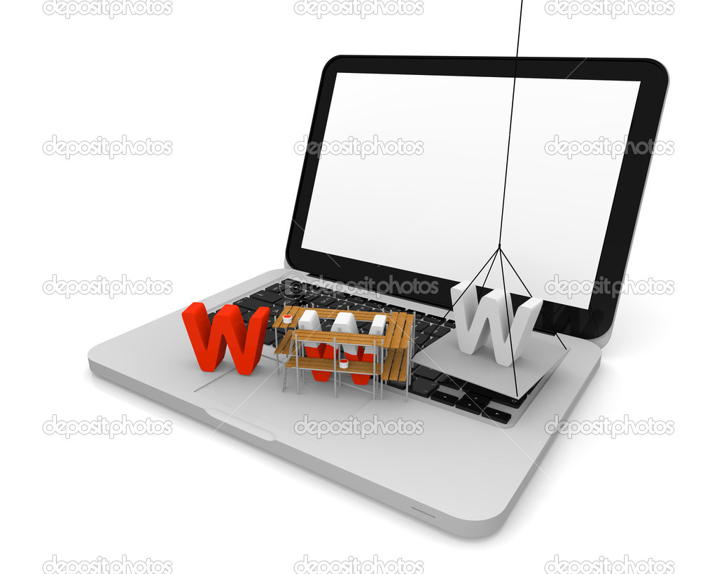 Letters www being built on the top of a laptop  Stock Photo #8625600