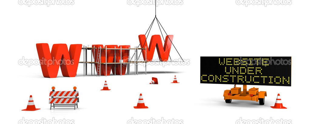 Concept of building website with letters www, signboard and barriers and traffic cones — Stok fotoğraf #8625609