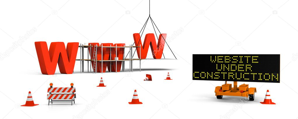 Concept of building website with letters www, signboard and barriers and traffic cones — Стоковая фотография #8625609