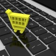 Shopping trolley symbol on keyboard — Stock Photo