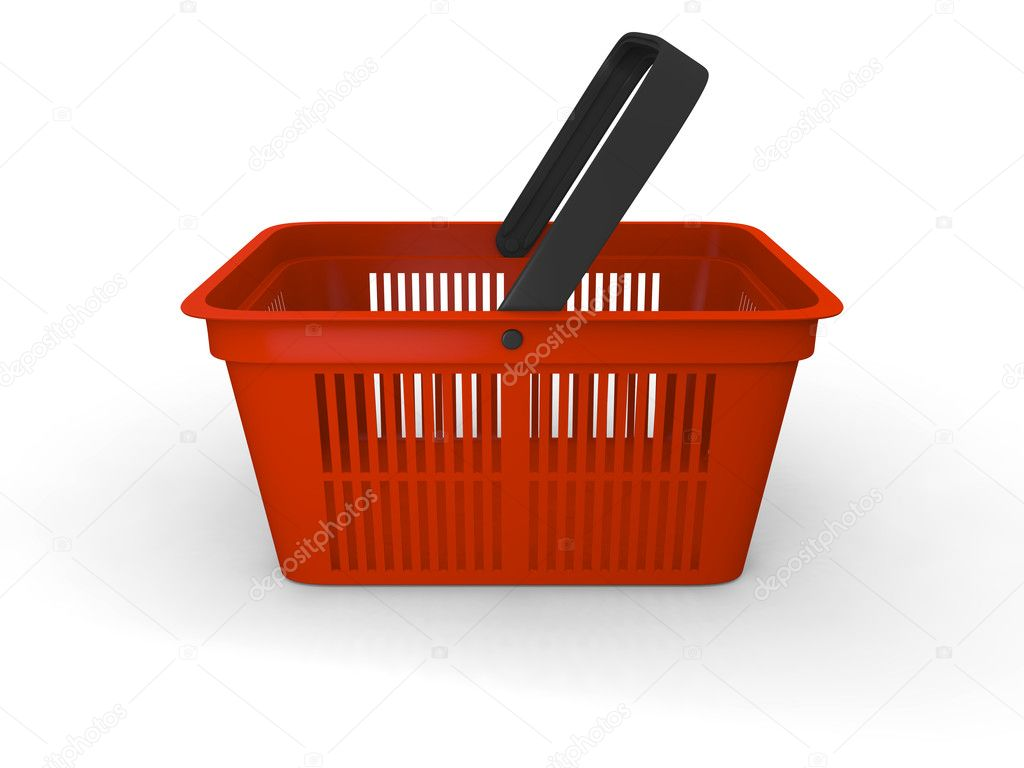 3D illustration of empty red plastic shopping basket — Stock Photo #9184652