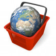 Earth in shopping basket — Stock Photo