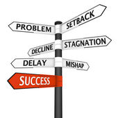 Crossroads sign with direction to success — Stock Photo