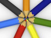 居中的彩色铅笔 — 图库照片