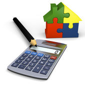 Calculator with house symbol — Stock Photo
