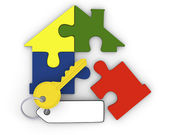 Key from puzzle home — Stock Photo
