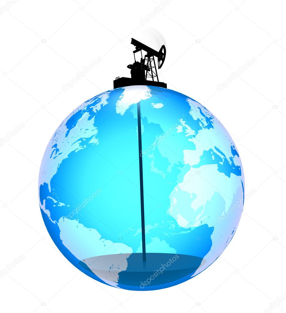 Oil pump on the planet pulls the last drops of oil — Stock Photo #8863043