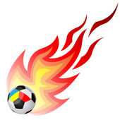 Soccer ball with fire — Stock Vector