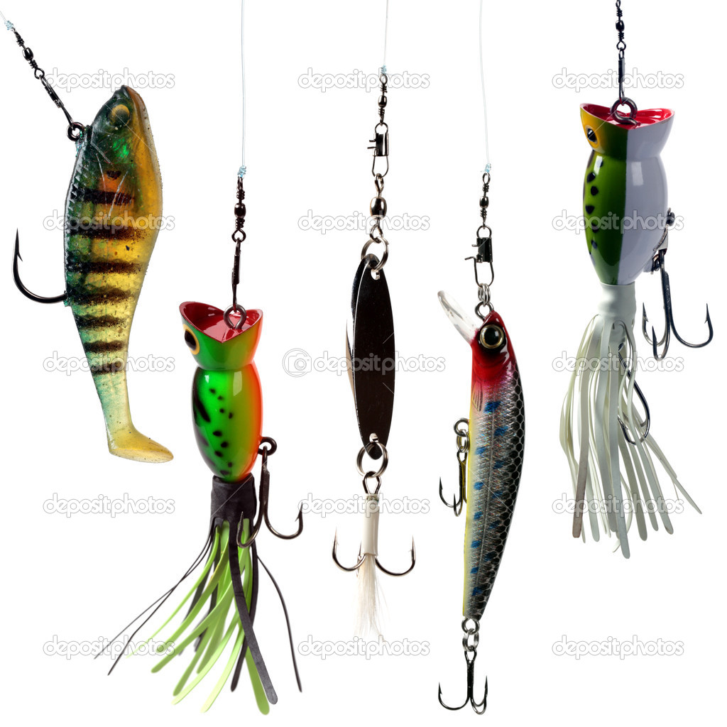 Fishing baits isolated on white background. Set.  Stock Photo #8598997