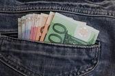 欧元在口袋里 — 图库照片