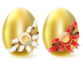 Golden chicken eggs — Stock Vector