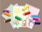 Children drawings — Vector de stock