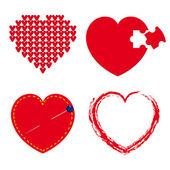 Conjunto de corazones rojos — Vector de stock